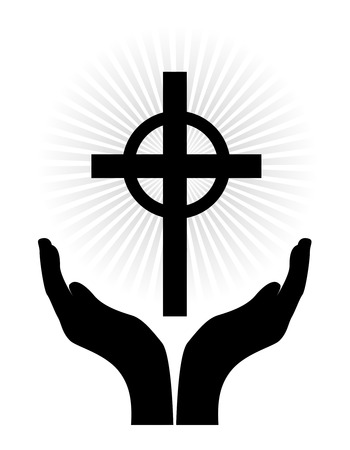 symbolism: Slhouette of open hands with a glowing cross isolated on white background