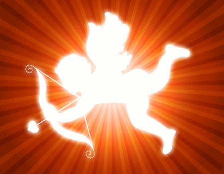 Illustration of a glowing cupid with its arrow on red and orange retro background Stock Photo