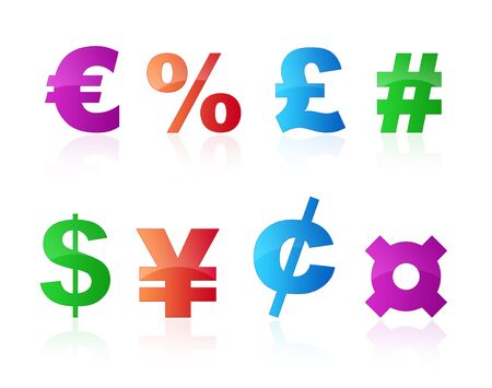 currency symbols: Colorful currency symbols isolated on white background
