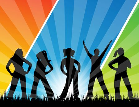five people: An illustration of the silhouettes of five people, dancing on grass. The background has colorful gradient strips.