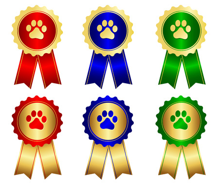 red competition: Dog competition winner gold award ribbon  stamp seal with red , blue,  green ribbon and paw print on center