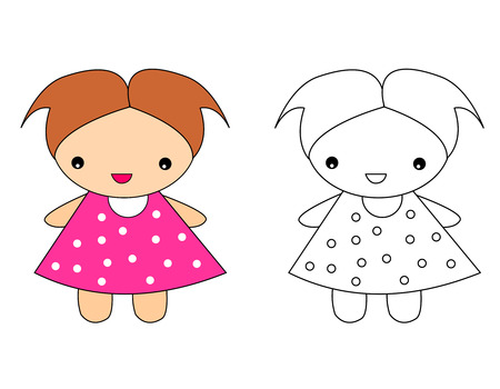 Cute doll toy illustration for pre school kids coloring activity with sample colored image illustration