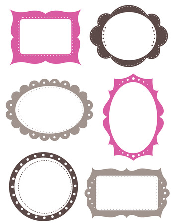 illustrated: Illustrated set of blank picture frames in flat web design style with a white background. Stock Photo