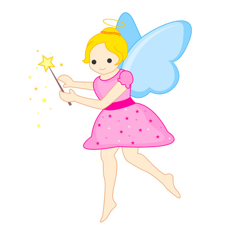 spiritual beings: Cute angel little fairy with a magic wand in her hand  illustration isolated on white background Stock Photo