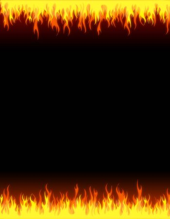 irradiate: Burning fire header and footer on dark background frame