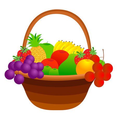 Illustration of a fruit basket with mixed fruits including apple, pineapple, strawberry, banana, cherries etc. isolated on white background