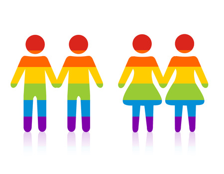 marriages: Gay male & female couple silhouette.colorful people holding hands