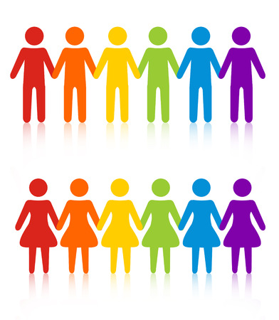 equal to: People in line  queue silhouette.colorful men and women holding hands Illustration