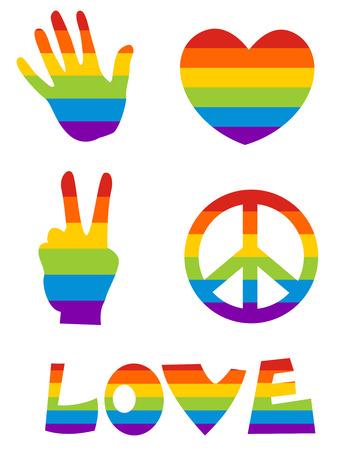 bandera gay:  Iconos web lesbianas gay  gay botones con la bandera textura aislados en blanco