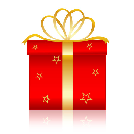 x mas parties: Nicely wrapped red christmas gift box with gold ribbons and bow. Isolated on white background
