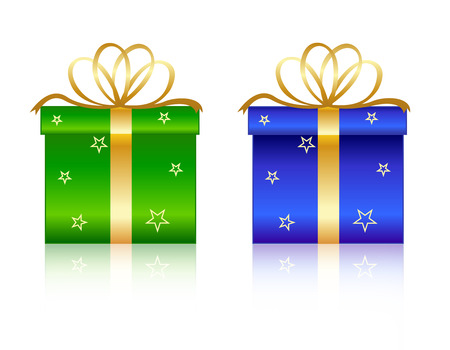Nicely wrapped green and blue christmas gift boxes with gold ribbons and bow. Isolated on white background