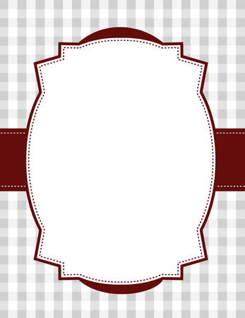specially: gray gingham  squares background with frame. & ribbon specially occasion greeting cards & invitations