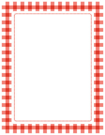 Red gingham border / frame with empty white space Vettoriali
