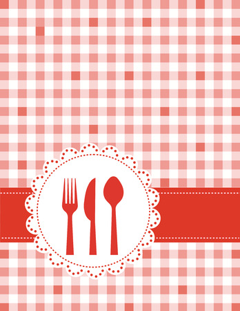 dinner party: Dinner invitation card background with spoon, knife and fork on red and white gingham background Illustration