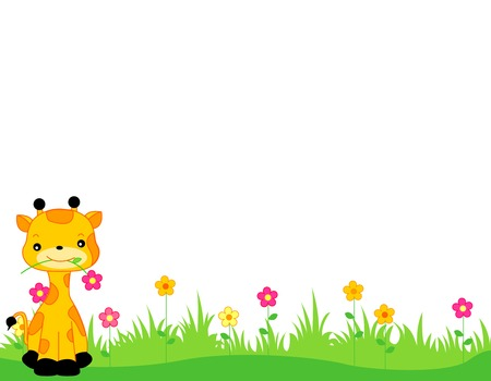 cartoon animal: Cute giraffe with a flower on its mouth sitting on grass web page border  header  footer isolated on white background illustration