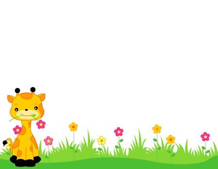 jirafa: Jirafa linda con una flor en su boca, sentado en la hierba la p�gina web de la frontera  encabezado  pie aislado en fondo blanco ilustraci�n