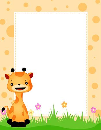 Illustration of a cute little giraffe sitting on grass and flowers border  frame Vector