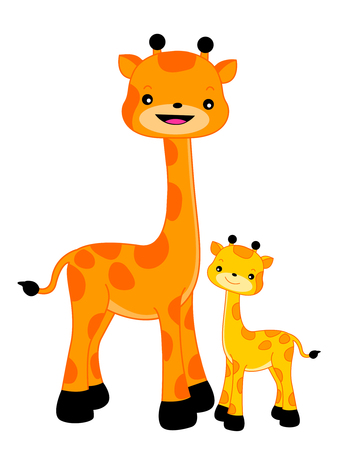 cartoon kids: Two happy giraffes, mom and cub isolated on white background