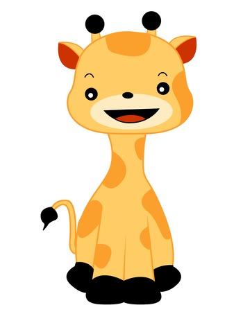 illustratin: Cute hapy giraffe sitting on floor illustratin isolated on white