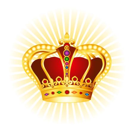 Corona de oro con piedras preciosas y perlas de imágenes prediseñadas en el fondo brillante Foto de archivo - 38748370