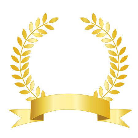 Ilustración aislada de una cinta de oro con el laurel espacio vacío para añadir su propio texto dentro.