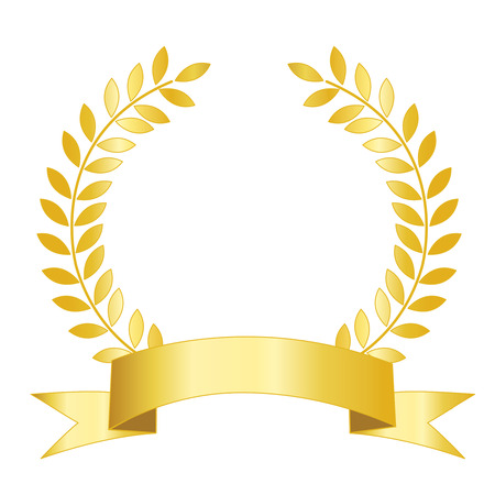 laurel wreath: Isolated illustration of a  golden ribbon with laurel empty space to add your own text inside.
