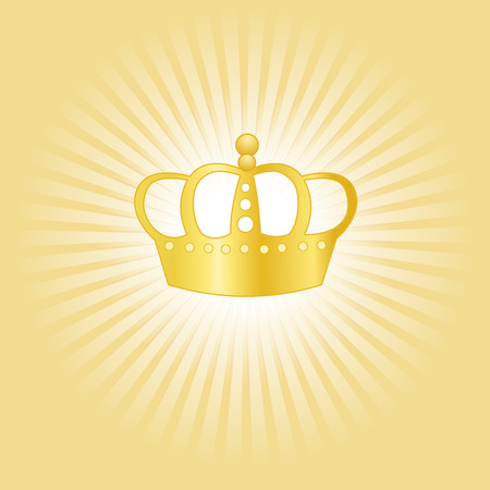 highness: Golden crown on glowing background concept