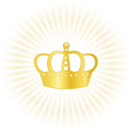 highness: Glowing golden crown isolated on white background Illustration