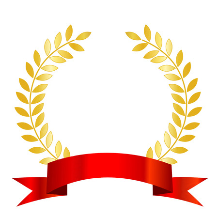 honor: Isolated illustration of a  red ribbon with laurel empty space to add your own text inside.