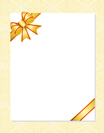 wedlock: Invitation card background with gold ribbon bow and ornamental  pattern on background