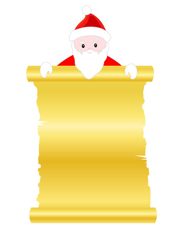 lurk: Santa claus with a golden scroll paper illustration isolated on white background Illustration