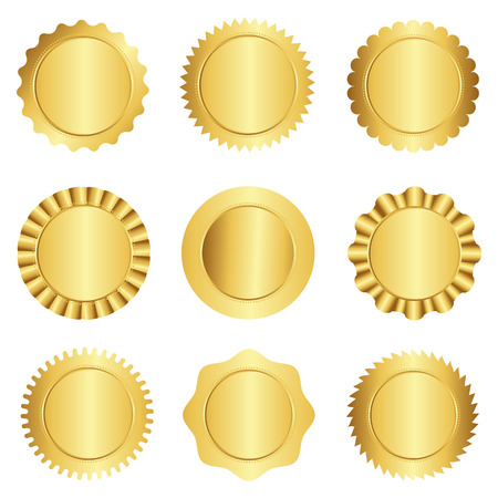 Set of different gold approval seal , stamp, badge, and rosette shapes isolated on white