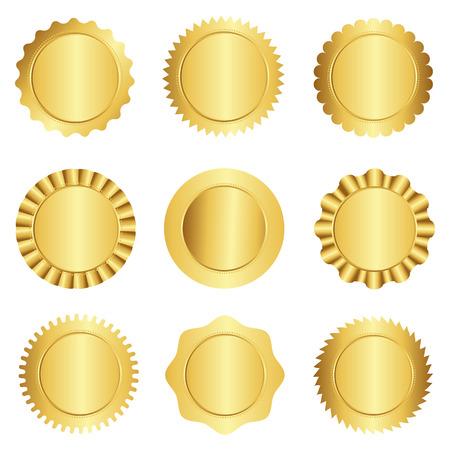 다른 금 승인 도장, 우표, 배지, 그리고 장미 모양의 설정 흰색에 고립 일러스트