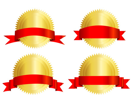 Isolated illustration of a gold seal and red ribbon banner empty space to add your own text inside.