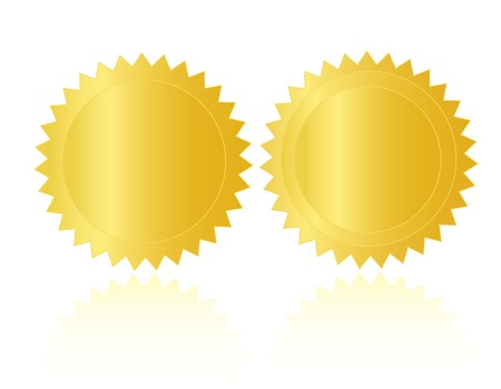 seal of approval: Empty gold seal  stamp isolated on white background