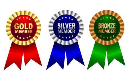 silver: Gold , silver and bronze membership award ribbon rosette in red blue green colors isolated on white background