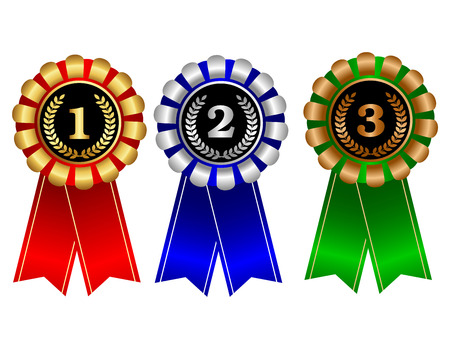 first place: Gold silver and bronze medal with red blue and green ribbons