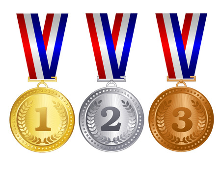 Gold silver and bronze medals with red blue and silver / white ribbons and text inside for 1st 2nd and 3rd place winners