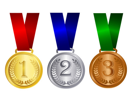 gold silver and bronze medals with red blue and green ribbons