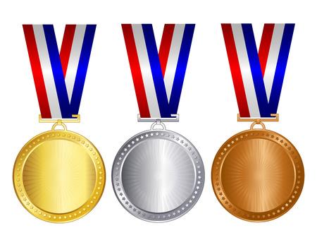 Goud zilver en bronzen medailles met rood blauw en zilver  witte linten en lege ruimte binnen voor 1e 2e en 3e plaats winnaars