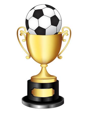 Geïsoleerde ilustratin van een gouden trofee / beker met een zwart-witte voetbal bal op