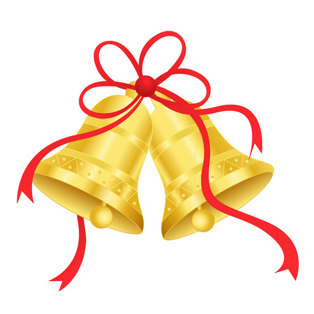 Golden Bells with red ribbon bow isolated on white background. specially for wedding themed designs Vettoriali