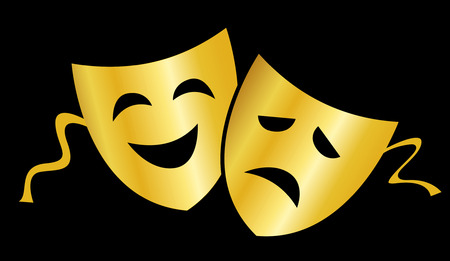 Gold theatrical masks silhouette representing theater comedy and drama isolated over black background Illustration