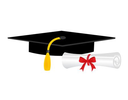 diploma: Ilustración de un diploma y la tapa birrete que simboliza la graduación