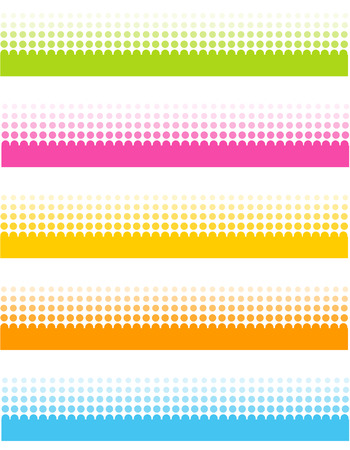 Colorful halftone dotted line  footer collection