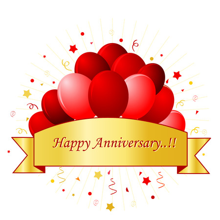 happy anniversary card in red letters with beautiful red balloons and confetti on white background with - Happy Anniversary Cards
