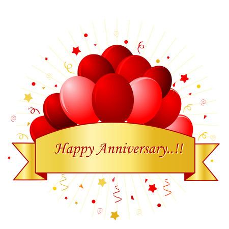 anniversary: Tarjeta feliz del aniversario en letras rojas con hermosos globos rojos y confeti sobre fondo blanco con oro banner  marco. Para el evento de la boda personal o aniversarios.