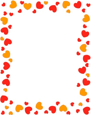 Red and orange different shaped hearts frame on white background