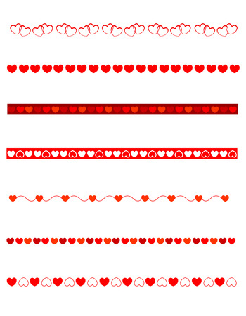 Set of decorative divider borders for valentines day  love themed web sites. Includes clip art of hearts
