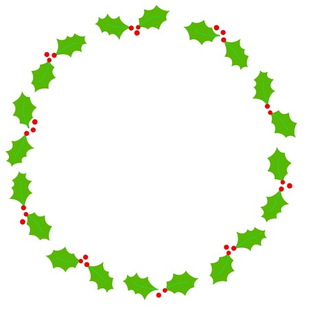 x mas card: Simple holly and red berries circle shape christmas frame on white background
